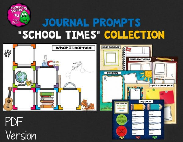Teaching Ideas 4U - Amy Mezni - Journal Writing Prompts School Times Color & Ink Saver Versions