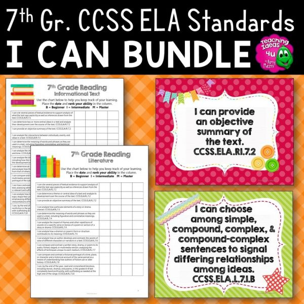 Teaching Ideas 4U - Amy Mezni - 7th Grade I Can Posters & Checklists CCSS ELA Standards Bundle