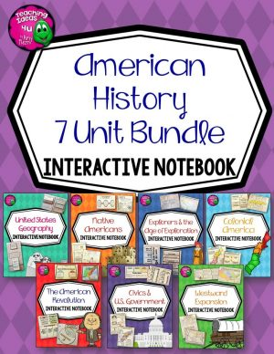 Teaching Ideas 4U - Amy Mezni - American History Interactive Notebook Bundle 5th Grade 7 Units United States