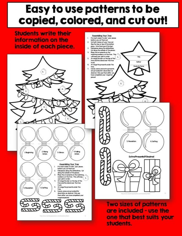 Teaching Ideas 4U - Amy Mezni - Christmas Tree Fiction Craftivity Book Report Project - Use With Any Book