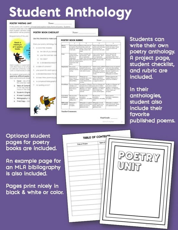 Teaching Ideas 4U - Amy Mezni - Poetry Writing Unit: Includes 8 Forms of Poetry & Templates for Book of Poems