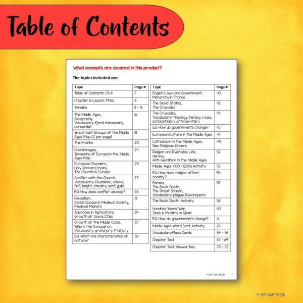 Teaching Ideas 4U - Amy Mezni - The Middle Ages & Medieval Times Interactive Notebook Unit INB
