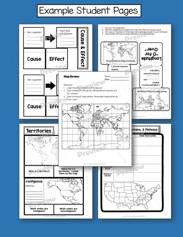 Teaching Ideas 4U - Amy Mezni - United States Geography & Its Regions Interactive Notebook & Test US